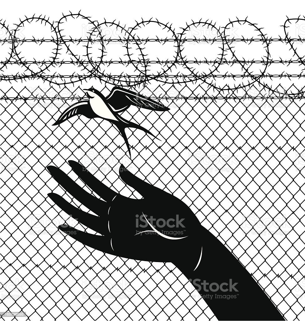 Freedom Sparrow Prison Release vector art illustration