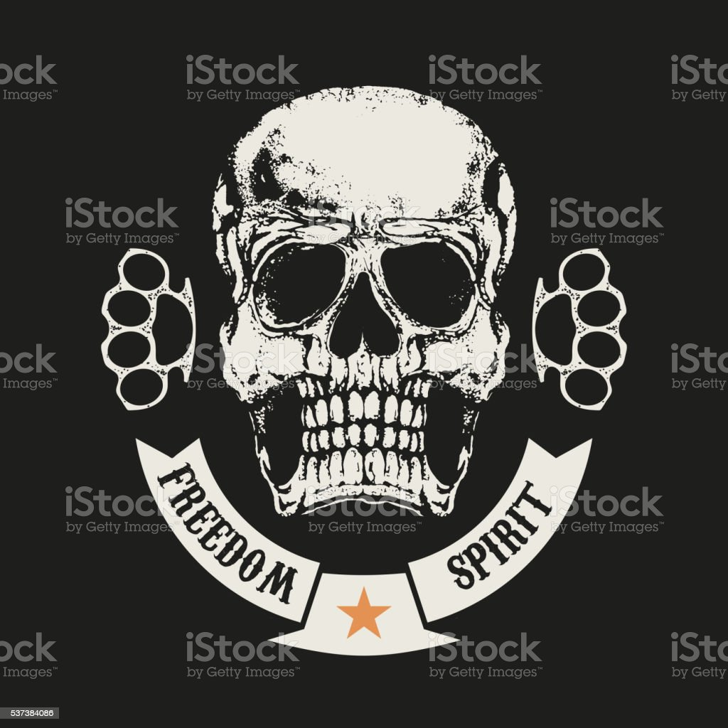 Freedom spirit. Skull in grunge style and two brass knuckle. vector art illustration