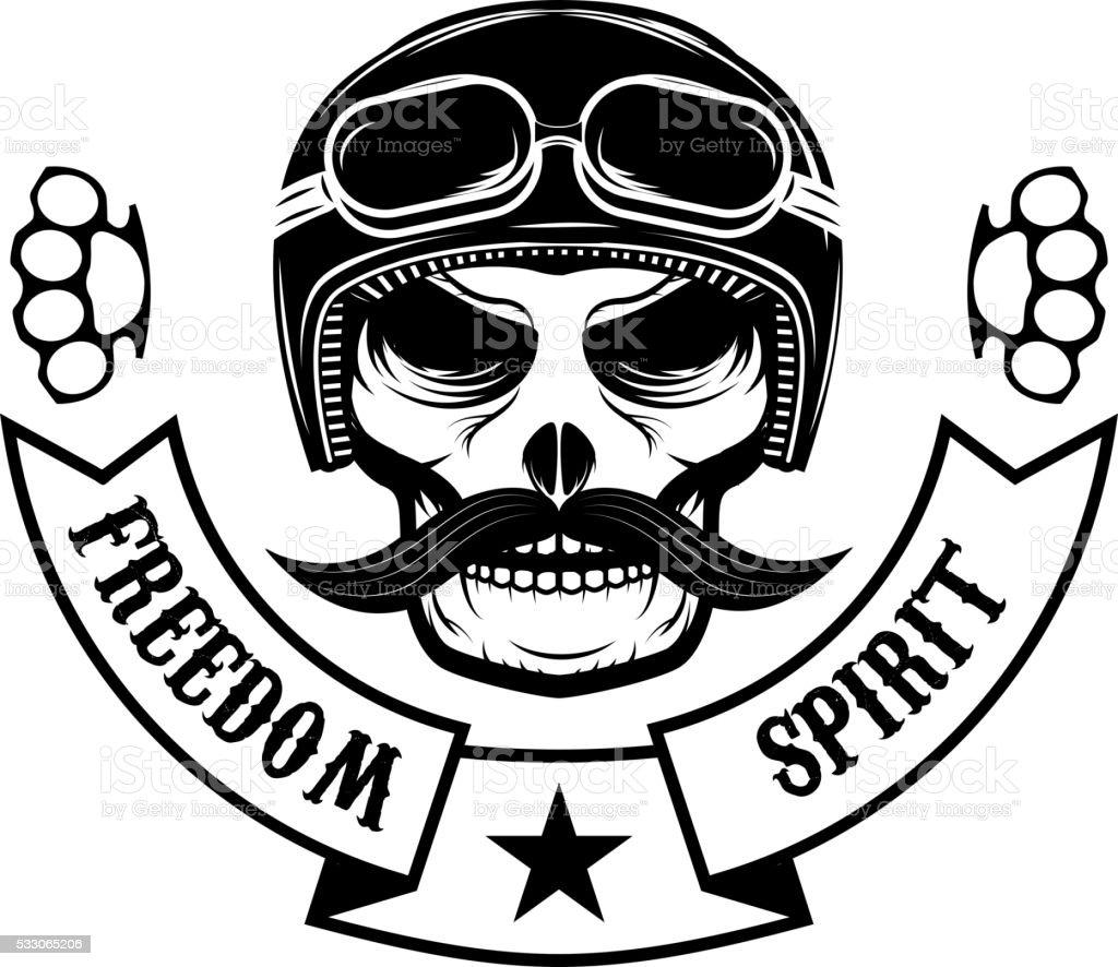 Freedom spirit. Skull with moustache in motorcycle helmet. T-shi vector art illustration