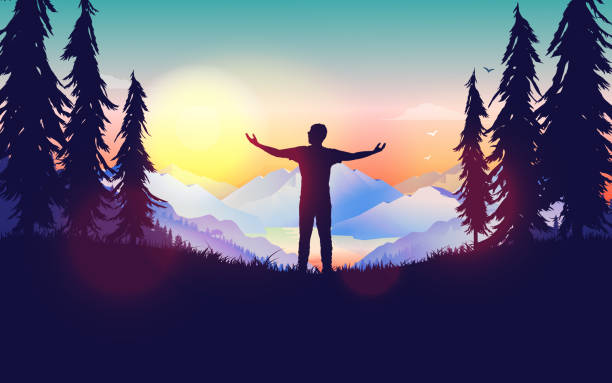 ilustrações de stock, clip art, desenhos animados e ícones de freedom - the great feeling of being free illustrated with a man admiring the landscape and sunrise - water born nature