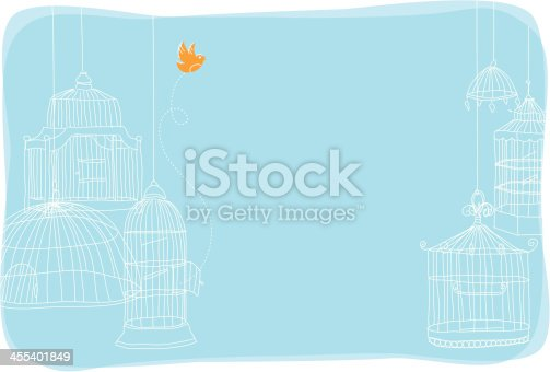 Background with birdcages and bird flying out of cage