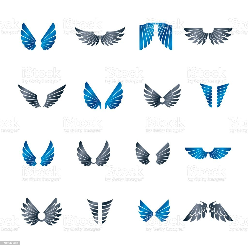 Freedom Wings emblems set. Heraldic Coat of Arms decorative logos isolated vector illustrations collection. - ilustración de arte vectorial