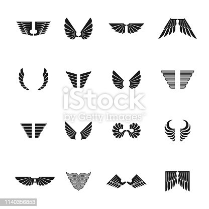 Freedom Wings emblems set. Heraldic Coat of Arms decorative signs isolated vector illustrations collection.