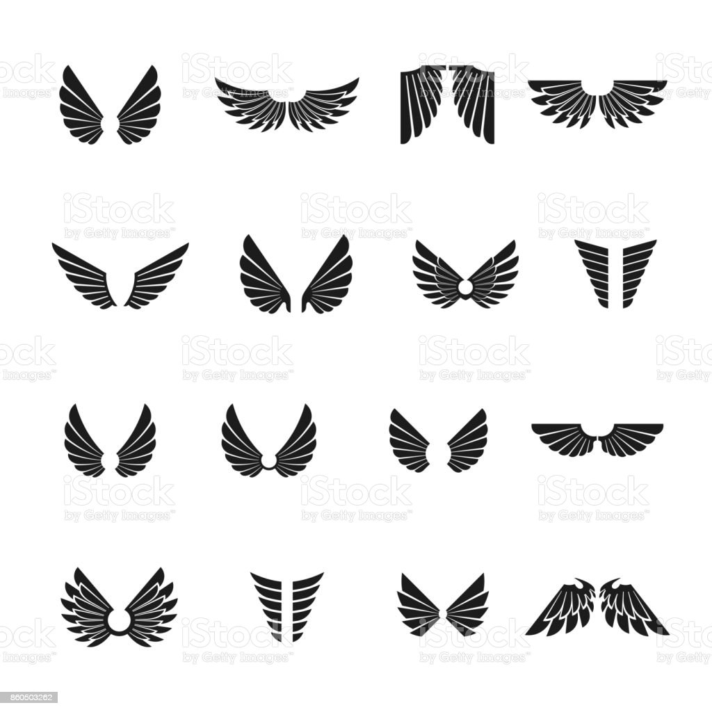 Freedom Wings emblems set. Heraldic Coat of Arms decorative symbols isolated vector illustrations collection.