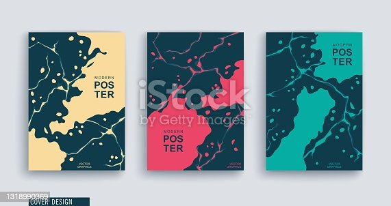 istock Freeform hand drawn spots and splashing. Abstract art. Trendy style covers. Vector illustration 1318990369