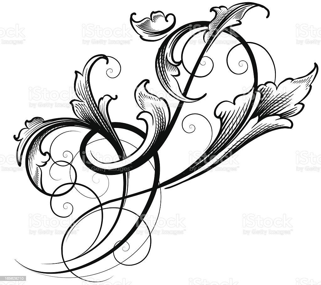 Freeform Leaf Scroll Stock Illustration - Download Image ...