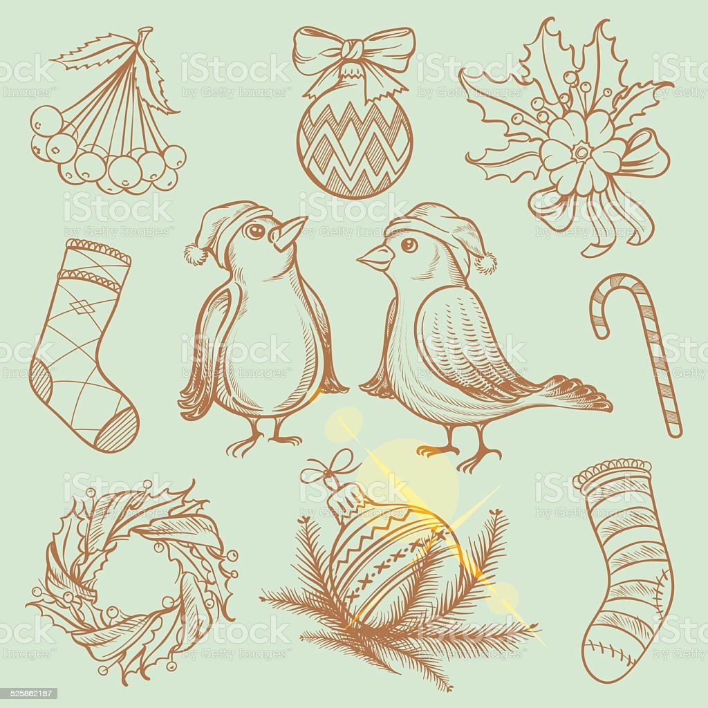 Freehand Christmas illustrations vector art illustration