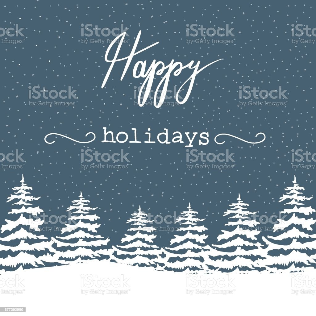 Freehand Christmas Vector Illustration White Fir Trees in Forest Snowfall Happy Holidays Lettering. Navy Blue Background. New Year Greeting Card Poster Banner Invitation Editable. Scandinavian Style vector art illustration