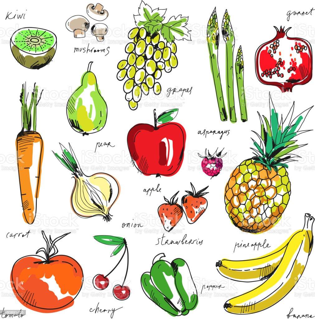 Ananas Rysunek odręczny rysunek owoców i warzyw na białym tle - stockowe