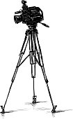 istock Freehand drawing of a videocamera on tripod for professional shooting 1297269939