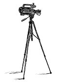 istock Freehand drawing of professional videocamera on tripod 1293035134