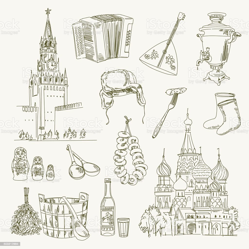 Freehand drawing Russia items vector art illustration