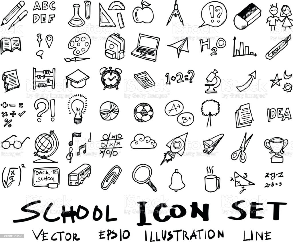 Freehand drawing school items . Back to School. Vector illustration. Set eps10 vector art illustration