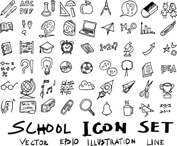 freehand drawing school items . back to school. vector illustration. set eps10 - primary school stock illustrations, clip art, cartoons, & icons