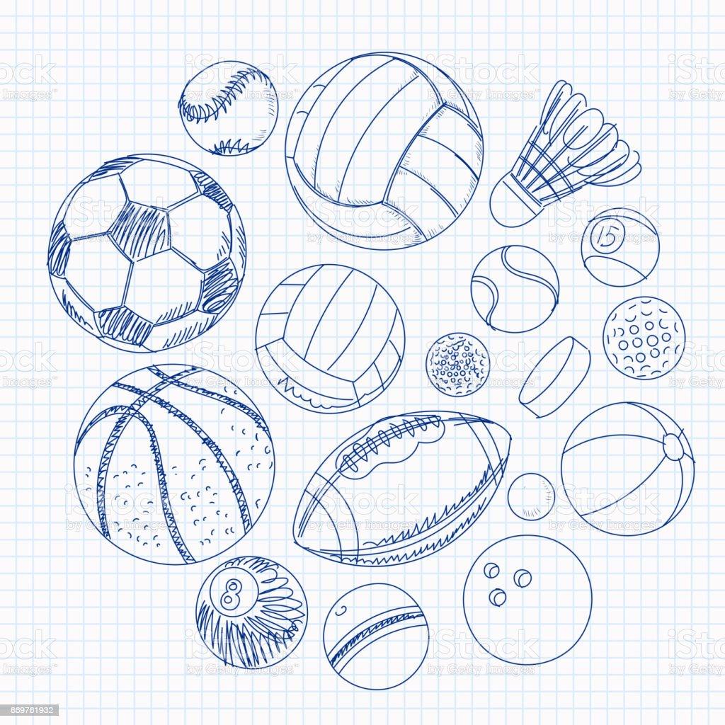 練習帳のシートのスポーツ ボールをフリーハンド描画 いたずら書きの