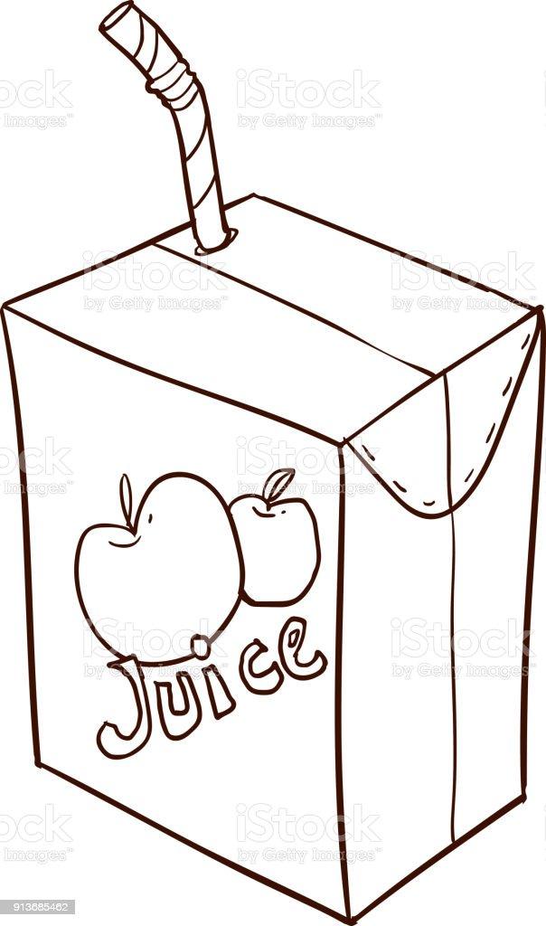 Dessin Animé Dessiné à Main Levée Boîte à Jus De Fruits