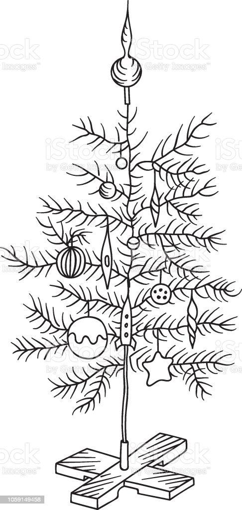 Ilustración de Doodle Dibuja A Mano Alzada árbol De Navidad Decorado ...