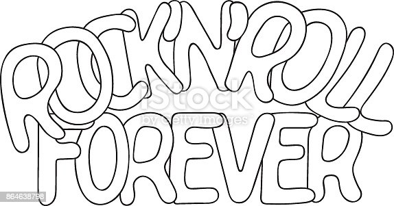 istock Freehand drawn vector illustration rock and roll forever emblem, coloring page, template 864638798