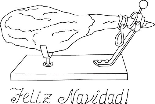 Freehand drawn vector illustration Spanish whole dry-cured ham on horizontal stand Christmas New Year greetings coloring page logo poster menu template. Feliz Navidad Lettering