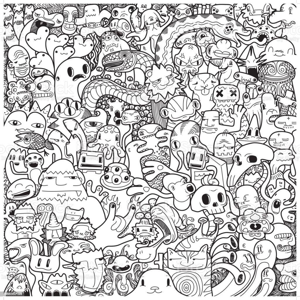 Freehand monster doodle in black white stock vector art for Doodle art monster