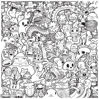 istock freehand monster doodle in black & white 688560196