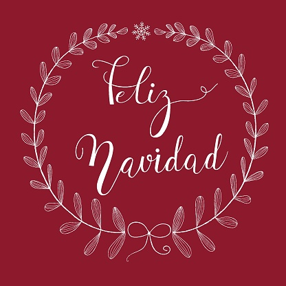 Freehand Pencil Doodle Sketchy White Wreath Twigs Leaves Bow Snowflake. Brush Lettering. Dark Red  Background. Copy Space for Text. Feliz Navidad Merry Christmas Text in Spanish. Editable