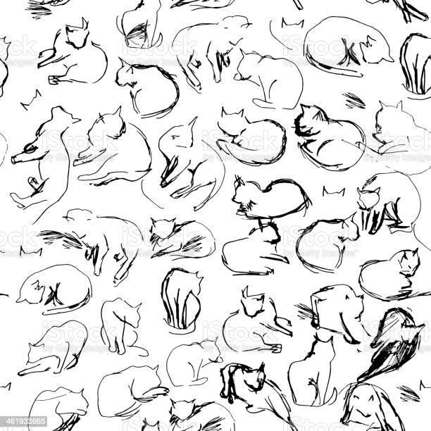 Freehand sketch seamless patern with black cats white background vector id461933665?b=1&k=6&m=461933665&s=612x612&h=p4zj0m7ytsqlslbolqowokpao 8aije m6n61arhkqm=