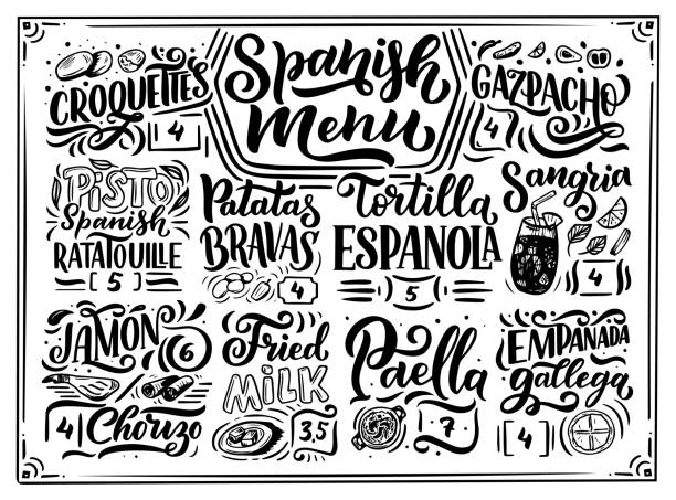 Freehand sketch style drawing of spanish menu with different food names, various elements and hand written lettering. Chalkboard design. Detailed illustration isolated on background vector art illustration