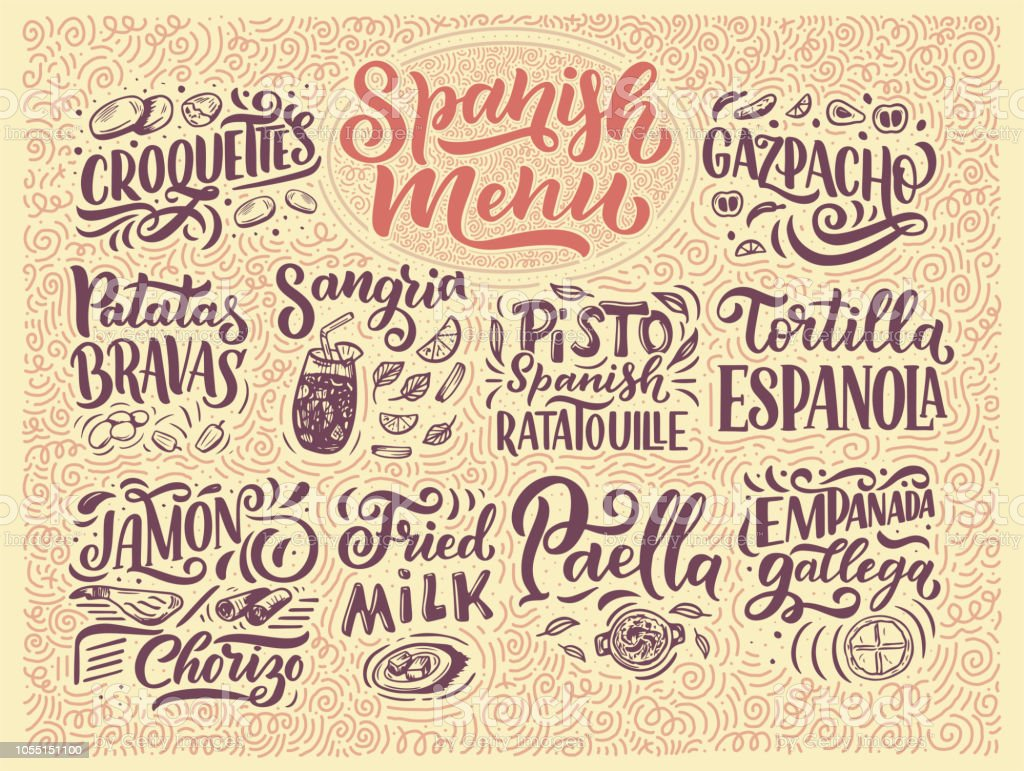 freehand sketch style drawing of spanish menu with different food