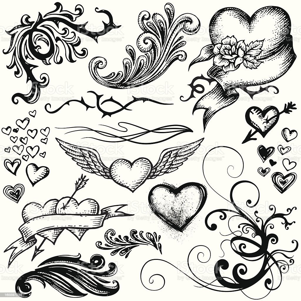 Freehand style Elements royalty-free freehand style elements stock vector art & more images of arrow - bow and arrow