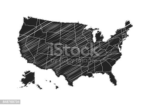Freehand United States Of America Map Sketch Design On White - Us map sketch