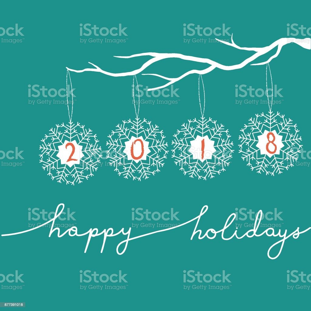 Freehand Vector White Christmas New Year Illustration. Snowflakes Hanging on Tree Branch. 2018 Greeting Card. Happy Holidays Calligraphic Lettering. Truquoise Background. Editable vector art illustration