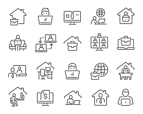 Freelance and Work at Home Icons. Editable vector stroke