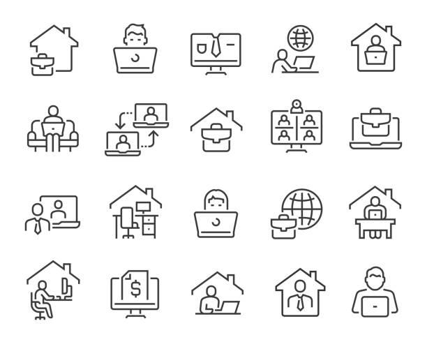 ilustraciones, imágenes clip art, dibujos animados e iconos de stock de freelance y trabaja en home icons. trazo vectorial editable - working from home