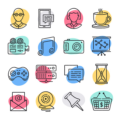 Freelance Career Success Doodle Style Vector Icon Set