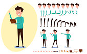 Freelance character creation set for animation. Set of guy in casual clothes in various poses. Parts body template. Different emotions, poses and  running, walking, standing, sitting. Cartoon Vector Illustration.