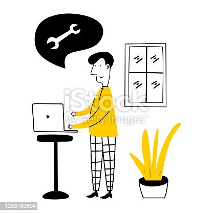 Freelance character of young man at work on laptops at home. A male standing while typing on his laptop. Work from home concept. Vector illustration for poster, banner, website, flyer