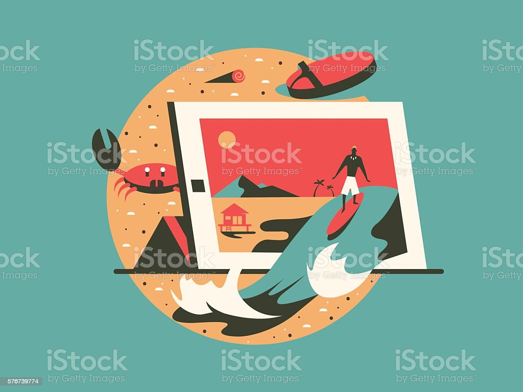 Freelance concept flat style vector art illustration