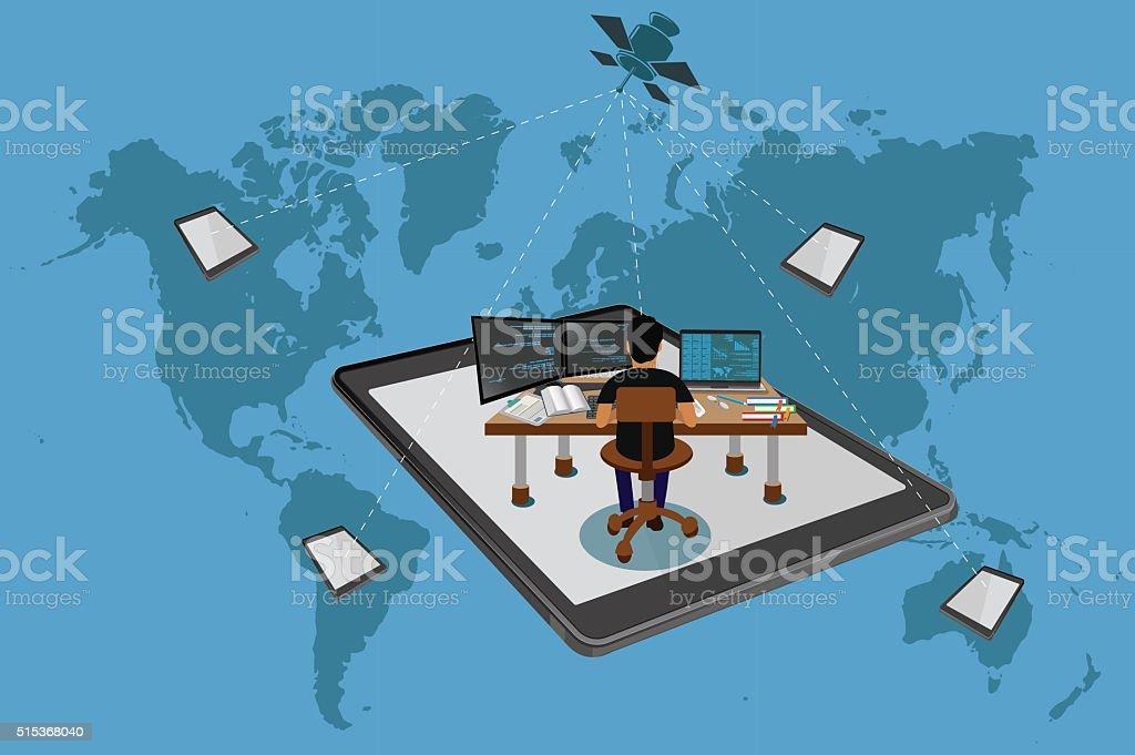 Freelance concept, global, world map, vector vector art illustration