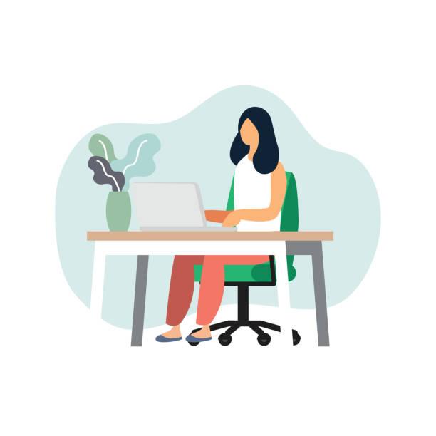 Freelance programador o diseñador trabajo en casa, vector de caracteres - ilustración de arte vectorial