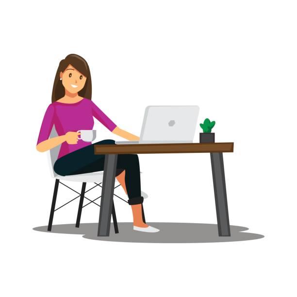 ilustraciones, imágenes clip art, dibujos animados e iconos de stock de freelance programador o diseñador trabajo en casa, vector de caracteres - trabajo freelance