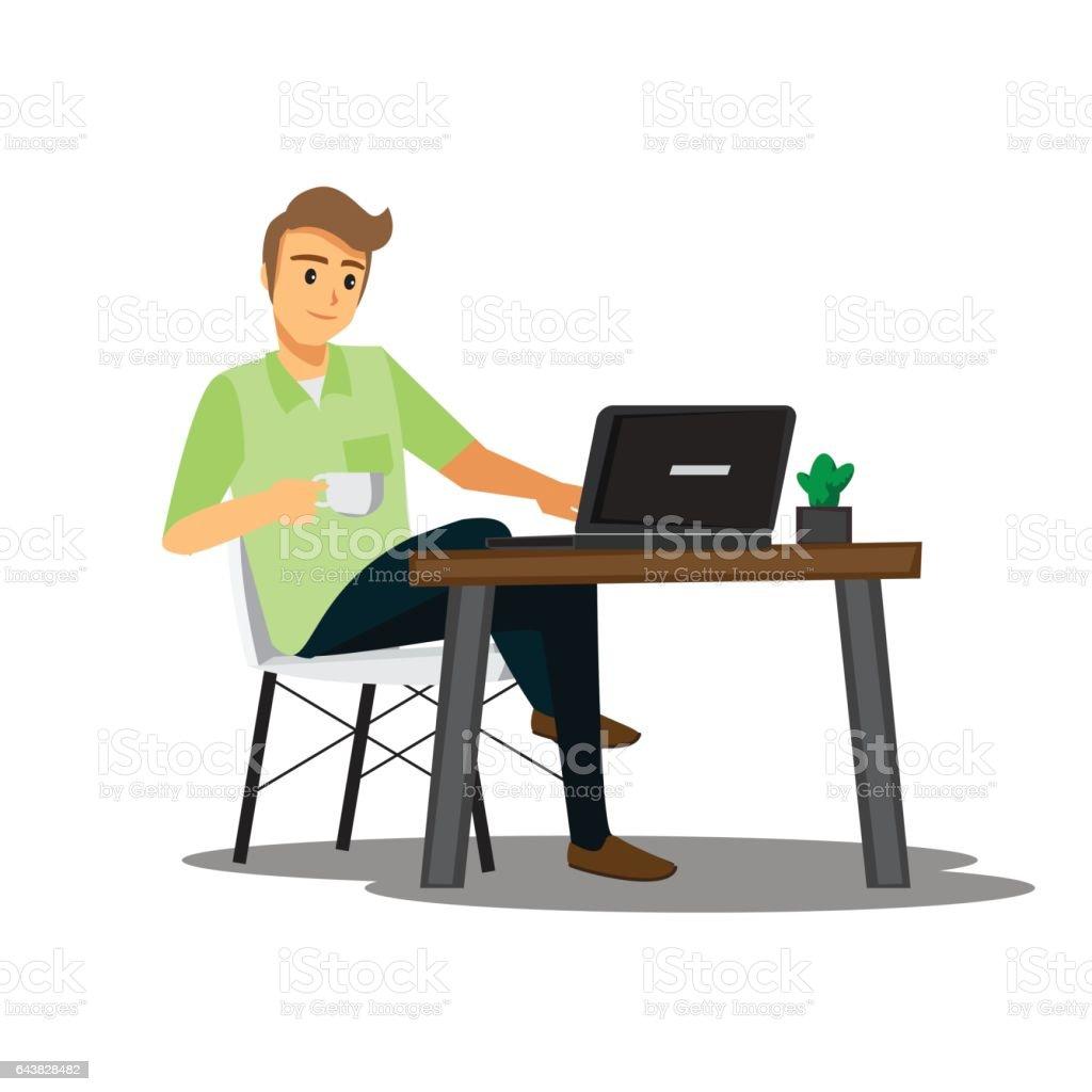 Freelance Developer Or Designer Working At Homevector Character ...