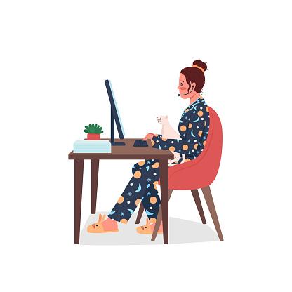 Funcionário autônomo em pijamas de cor plana vetor detalhado caráter
