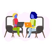 Freelance Girl Sitting on Chair Working on Laptop. Business Coworking Process. Two Female Character with Computer Sit in Armchair Make Conversation Work Together. Cartoon Flat Vector Illustration