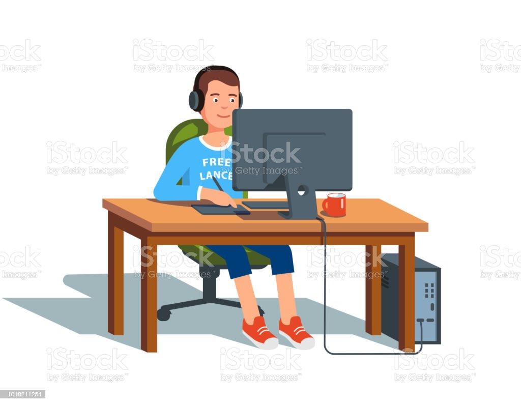 Freelance Graphic Designer sitzen am Schreibtisch mit Digitizer Stift und Tablett an Desktop-pc arbeiten. Flache Vektor-Cliparts-Illustration. – Vektorgrafik