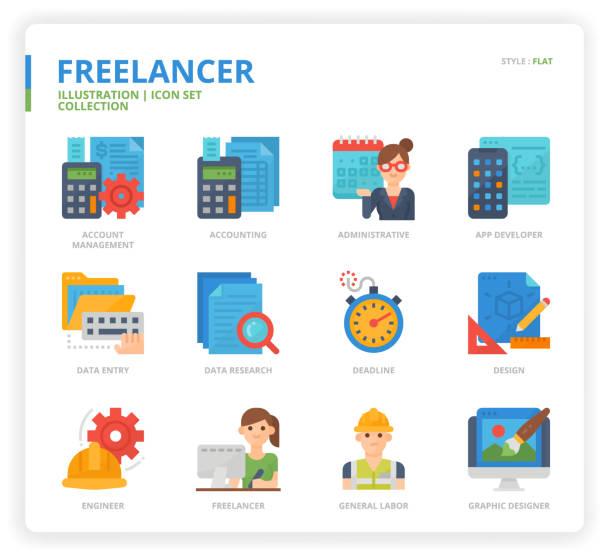 illustrations, cliparts, dessins animés et icônes de ensemble d'icône freelance - chef de projet