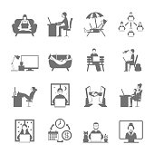 Freelance online and remote work in garden beach and night flat silhouette icon set isolated vector illustration