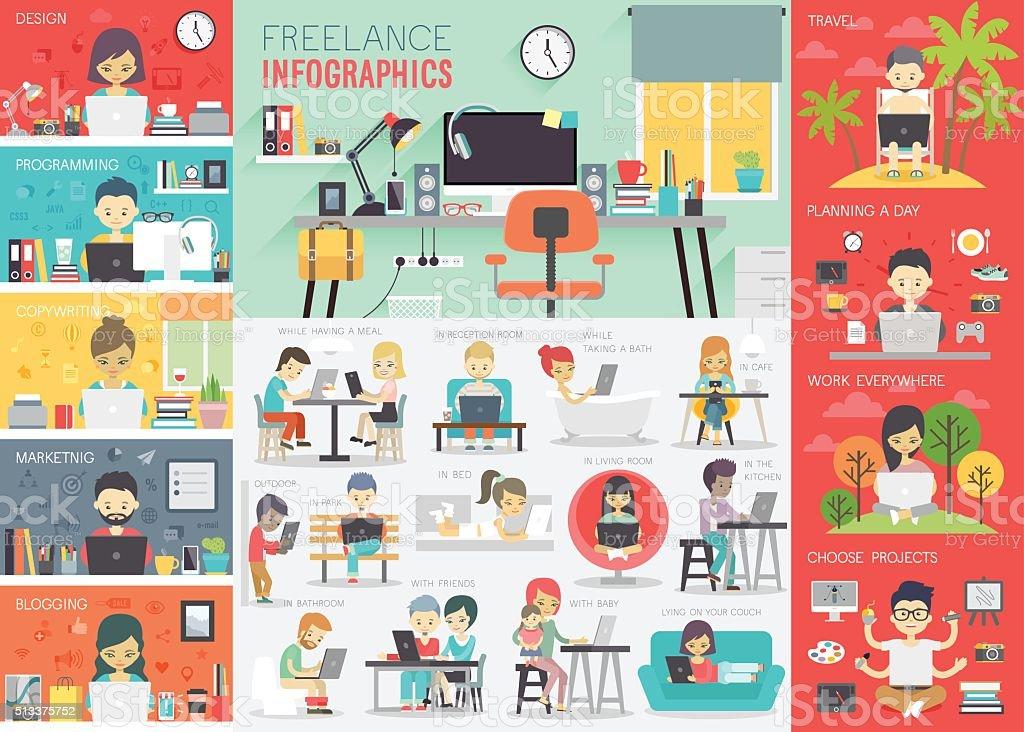 Freelance infografía conjunto con gráficos y otros elementos. - ilustración de arte vectorial