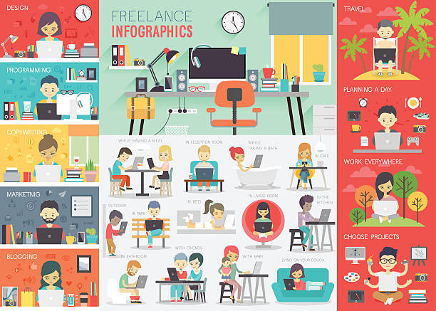 freelance infographic set with charts and other elements. - homework stock illustrations