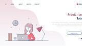 Freelance Job Webpage and Banner Concept with Editable Stroke Line Illustration.